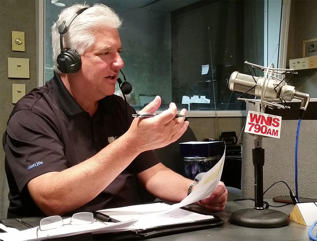 A man talking a radio show