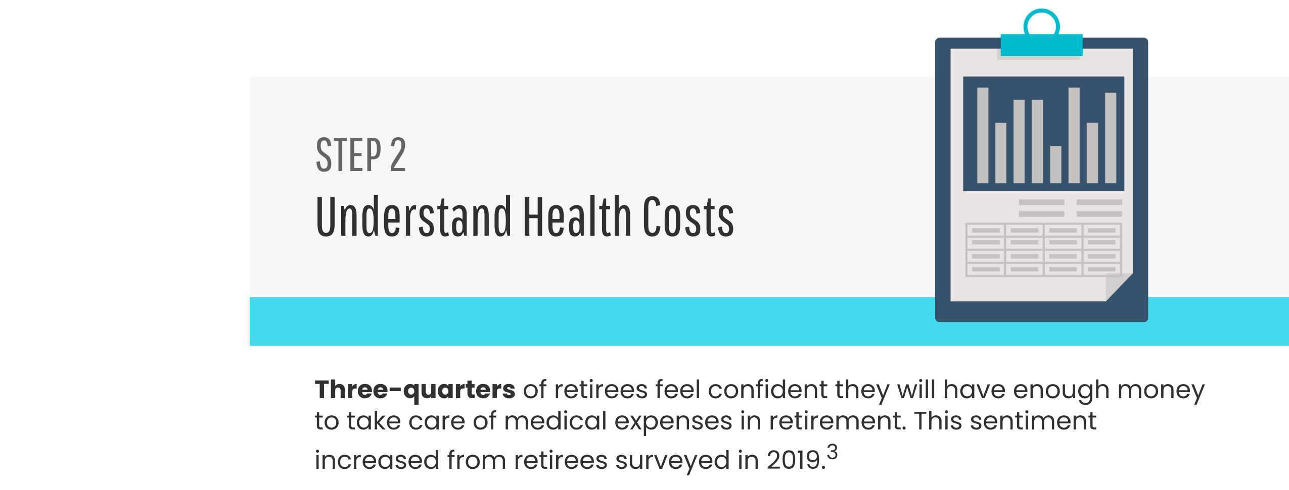 Step 2: Understand Health Costs. Three-quarters of retirees feel confident they will have enough money to take care of medical expenses in retirement. This sentiment increased from retirees surveyed in 2019.