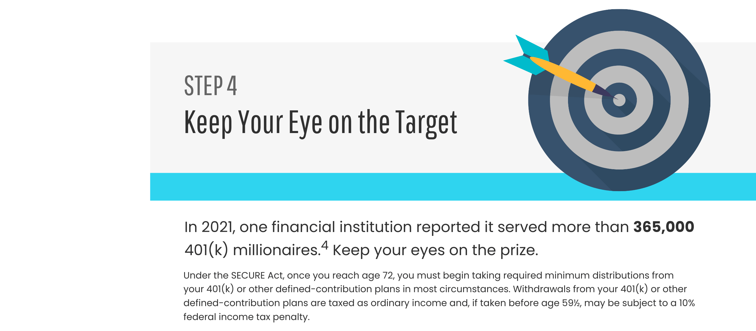 Step 4: Keep Your Eye on the Target. In 2021, one financial institution reported it served more than 365,000 401(k) millionaires.4 Keep your eyes on the prize. Under the SECURE Act, once you reach age 72, you must begin taking required minimum distributions from your 401(k) or other defined-contribution plans in most circumstances. Withdrawals from your 401(k) or other defined-contribution plans taxes as ordinary income and, if taken before age 59½, may be subject to a 10% federal income tax penalty.