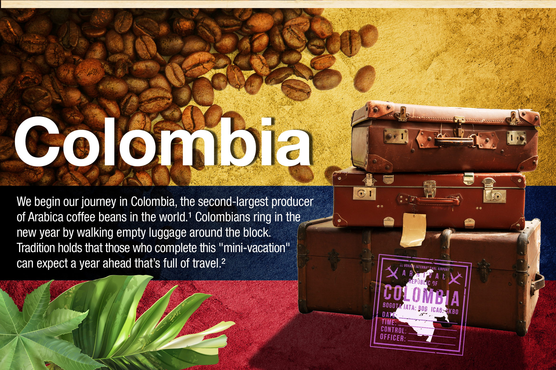 "Colombia. We begin our journey in Colombia, the second-largest producer of Arabica coffee beans in the world. 1 Colombians ring in the new year by walking empty luggage around the block. Tradition holds that those who complete this ""mini-vacation"" can expect a year ahead that's full of travel. 2"