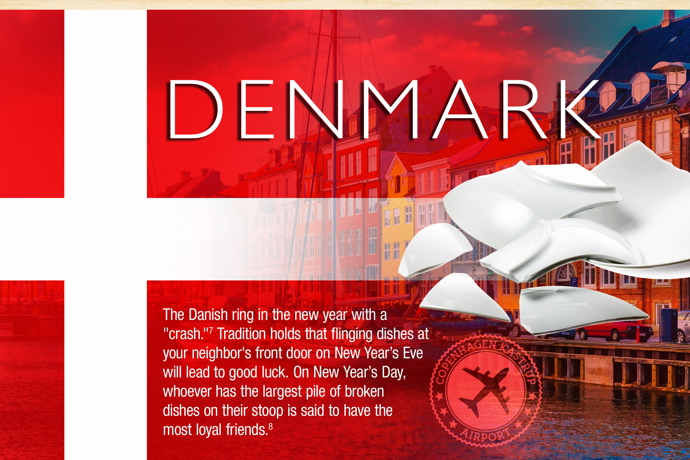 "Denmark. The Danish ring in the new year with a  ""crash.""7 Tradition holds that flinging dishes at your neighbors front door on New Year's Eve will lead to good luck. On New Year's Day, whoever has the largest pile of broken dishes on their stoop is said to have the most loyal friends.8"